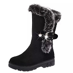 Ladies Womens Suede Fur Lined Mid Calf High Heel Winter Boots